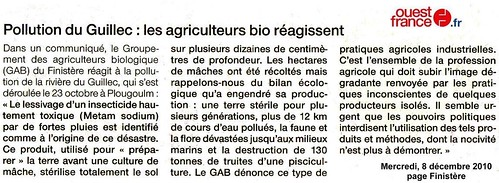 Pollution du Guiillec - Ouest-France - 8 décembre 2010