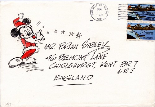 John Hench Christmas Card 1987 (envelope)