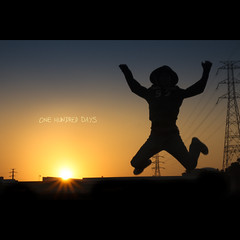 100/365 One Hundred Days (brandonhuang) Tags: blue sunset shadow sky orange sun silhouette set ball fire person one jump day shadows bright days pole hundred 100 poles 365 100365 brandonhuang