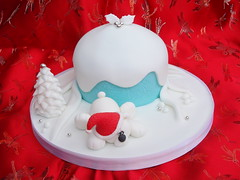 Polar bear cake (CakeLand by Nivia) Tags: bear christmas blue white tree cake snowman round polar dragees