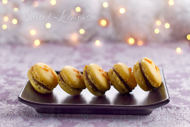 Orange-Chocolate Ganache Macarons