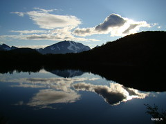 Reflection (Gyopi_K) Tags: blue summer lake mountains water norway island heart sommary skjervy