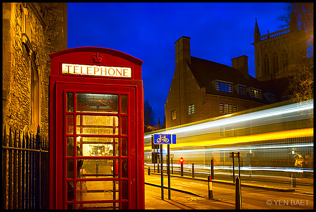 Cambridge - The Red Telephone Box and the Chapel of St. John's College in Bridge Street by Yen Baet - www.yenbaet.com