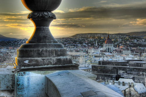 View from Saint Stephen church at sunset. Budapest. Vista desde San Esteban al atardecer