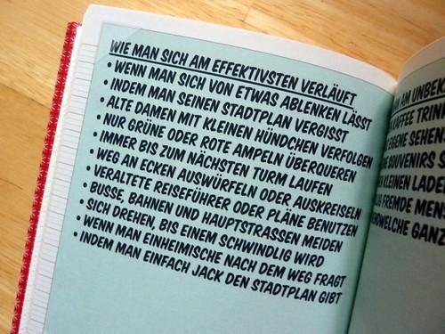 Foto von der Seite mit den Tipps, wie man sich am besten verläuft, im Lily Lux Notizbuch
