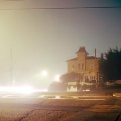 (m. wriston) Tags: california longexposure usa house color cars 120 6x6 film fog night analog america mediumformat square united victorian headlights negative suburbs states analogue pacificgrove crosswalk yashicamat124g c41 autaut pacificana kodakektar100