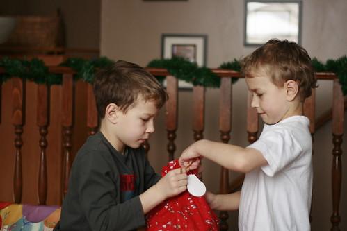 Christmas gift opening