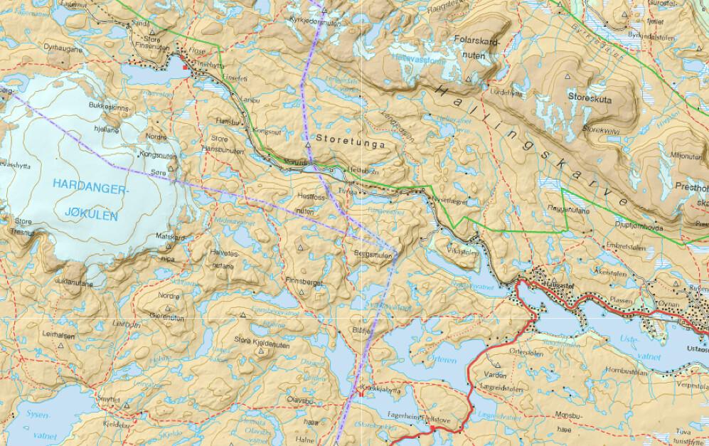 Kart over Hardangervidda
