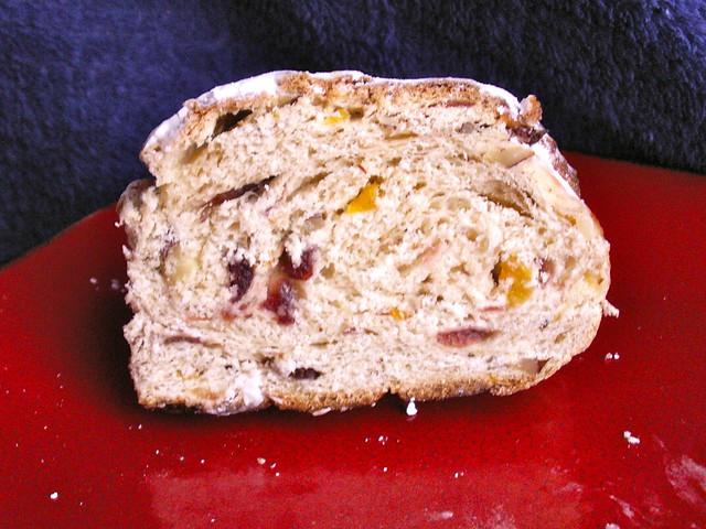 Apricot Cranberry Hazelnut Stollen Slice