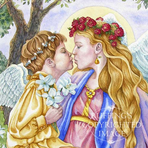 Angels' Kiss Original Watercolor Painting by Elizabeth Ruffing, detail