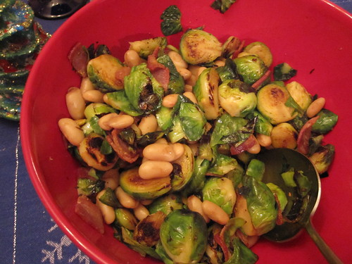 Brussels sprouts with bacon, beans, and balsamic vinegar