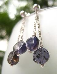 Annica Earrings (la Naváa) Tags: rocks purple coins handmade circles indigo jewelry chain earrings etsy gems gemstones annica iolite sterlingsilver wirewrapped