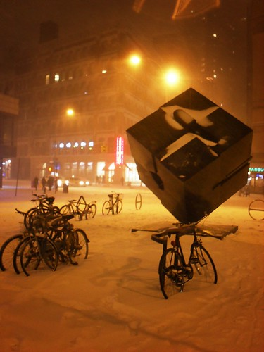 Blizzard 2010, East Village, Astor Place Cube, New York City 1