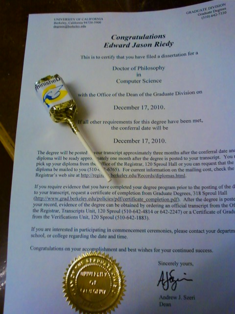 PhD certificate and the lollipop