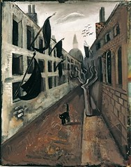 Nussbaum, Felix (1904-1944) - 1928c. The Desolate Street (Private Collection) (RasMarley) Tags: street 1920s birds animals cat buildings surrealism streetscene german painter expressionism jewish 20thcentury 1928 nussbaum privatecollection felixnussbaum thedesolatestreet