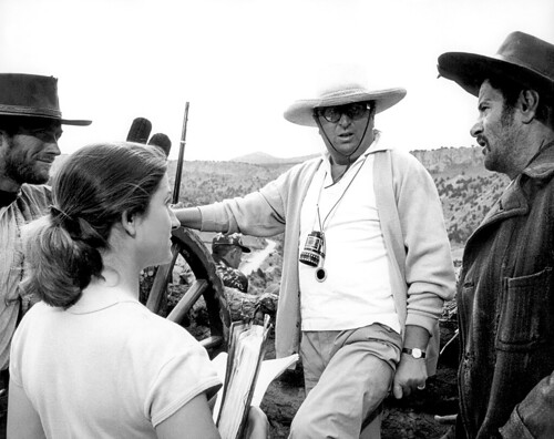 Rare behind the scenes still of Clint Eastwood and Eli Wallach with filmmaker Sergio Leone on the set of his Spaghetti Western film The Good the Bad and the Ugly 1966