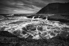 Perpetual Chaos (Darren White Photography) Tags: blackandwhite clouds oregon canon pacificocean pacificnorthwest oregoncoast 1740 capeperpetua centraloregoncoast blackandwhitelandscapes blackandwhitenature darrenwhitephotography 5dmkii