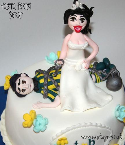 Fenerbahçeli damat - gelin pastası