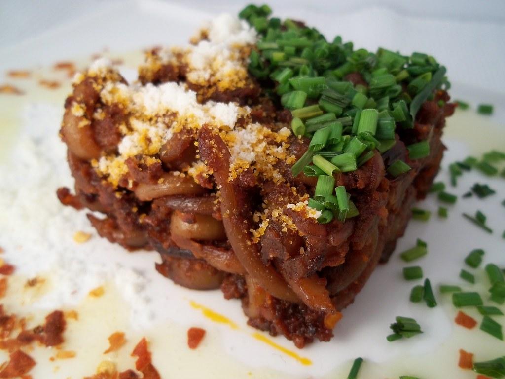 """""""Calamari noodles in spicy tomato sauce"""""""