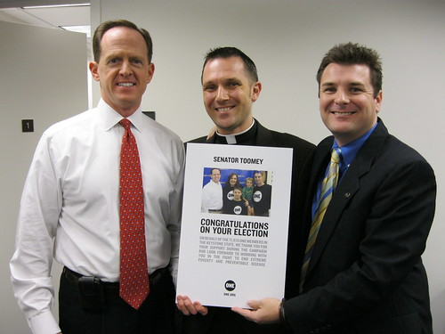 Pastor Matt Staniz and RFD Brian Sweeney Congratulating Sen. Pat Toomey