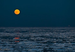 Sylt #15 - Moonrise (BK.DE) Tags: sea orange moon ice ferry mond meer list moonrise wonderland sylt eis fhre rm