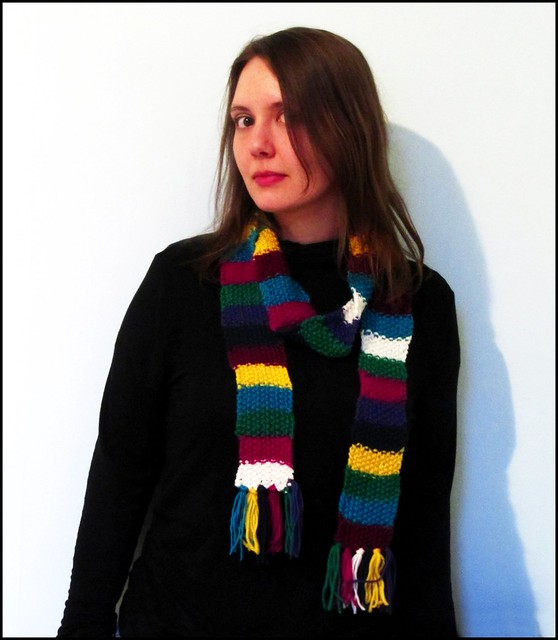 long multicoloured stripy scarf