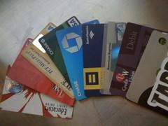 a rainbow of credit/debit cards..