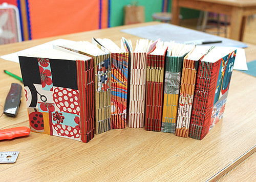 Colorful Longstitch Handmade Journals made by an Intermediate Bookbinding Class taught by Ruth Bleakley