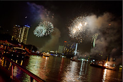 11 Fireworks Light the River (Ursula in Aus (Away)) Tags: bridge light night river dark thailand fireworks bangkok chaophraya rivercruise  ramaviii      earthasia totallythailand