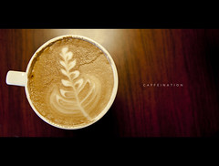 131/365 Caffeination (brandonhuang) Tags: wood cup coffee table milk leaf cafe warm drink beverage cream bubbles bubble mug caffeine liquid caffeinated caffeinate caffeination brandonhuang