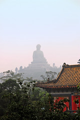 Tian Tan (Damian Bajorek) Tags: china trees roof red rain statue metal bronze stairs giant haze shrine cloudy buddha hill religion buddhism hong kong monastery rainy monks spirituality hazy ping ngong
