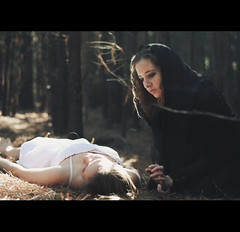 White rabbit, black crow. (alexstoddard) Tags: white black rabbit girl youth witch good evil crow raven hag