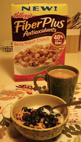 Kellog's Fiber Plus Antioxidants cereal, blueberries, coffee