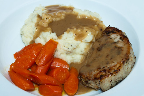 Sage Rubbed Pork Chops with Cauliflower Mashed Potatoes and Sweet Carrots