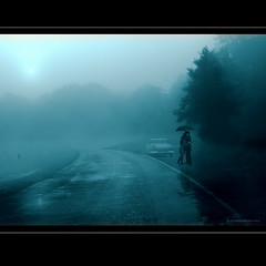 On a rainy day... (h.koppdelaney) Tags: life road morning november blue mist art love car fog digital photoshop hug couple symbol picture meeting philosophy story fantasy rainy romantic metaphor affair symbolism psychology archetype embracing koppdelaney dwcfffog
