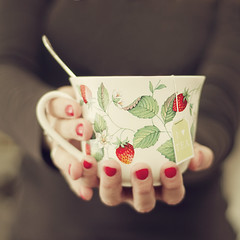 Tea time II (~ Maria ~) Tags: red cup hands tea nailpolish teatime wildstrawberries