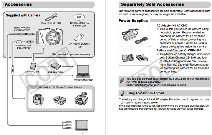 Accessories for the Canon SX130IS, found on pages 36 through 38 of the Canon SX130 IS Manual