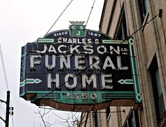 Charles S. Jackson Funeral Home, Chicago (Cragin Spring) Tags: old city windows urban chicago green sign vintage dead lights midwest neon chitown funeral southside neonsign bulding funeralhome secondcity funeralparlor chicagoillinois vintagesign southsidechicago charlesjacksonfuneralhome