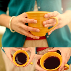 Coffee. (Simply Vintagegirl) Tags: winter red brown black hot cold cup water coffee yellow sweater hands warm soft hand bright drink turquoise buttons vibrant teal finger fingers rich tan drinking cream warmth skirt calm palm pearls steam delicious polkadots bracelet bubble mug mustard strong pearl coffeemug cheer cheerful offwhite wrinkle carry hold grasp