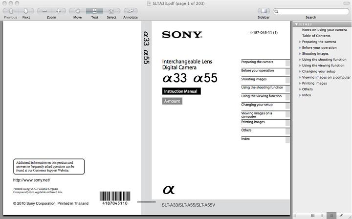 Sony A33 Manual