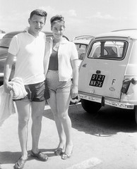 On holiday c1960 (vintage ladies) Tags: woman man france smile car lady 60s pretty sandals lovers shorts