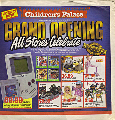 "Children's Palace - ""GRAND OPENING, All Stores Celebrate"" { Colorado Springs C.P. }  Sunday Newspaper supplement .. pg.1 (( October 28,1990 ))"
