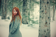 (-Fearless-) Tags: trees winter portrait selfportrait snow girl forest self grey december redhead pines snowing snowfall forests pinetrees gentle peacoat alongtimeago lodgepolepines alittlebitlost