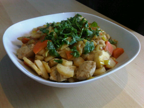 Chicken parsnip stir-fry
