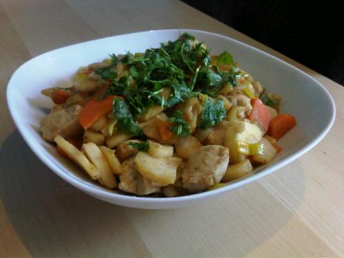 Chicken parsnip stir-fry