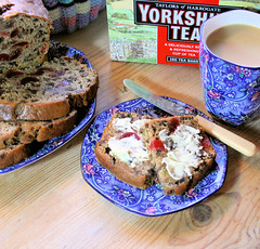 Yorkshire Tea with Mixed Spice, Cherries and Raisins and Tea Loaf with Ringtons Tea Mug and Plate! (French Tart) Tags: english cake tea yorkshire plate mug teapot loaf teatime teacosy yorkshiretea ringtonstea