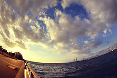 This sky and sea lead to you. (y2-hiro) Tags: sea sky sun sunlight japan clouds nikon fisheye osaka 15mm d3s