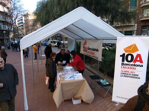 Stand del referendum en Barcelona