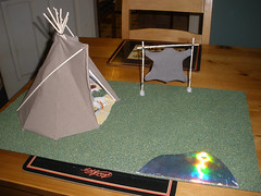 Tipi project - lake and a skin stretcher