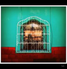 Abriendo ventanas... (Sonia Safa) Tags: street red chihuahua ladrillo muro mexico rouge ventana pared calle rojo nikon cambio rue mur callejeando d60 mejico oportunidad refran herraje soniasafa reflejocalle